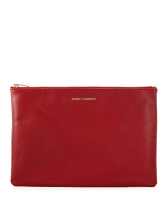 Letters Medium Zip Clutch Bag, Red