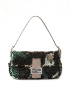 Bead & Sequin Baguette, Green/Gray