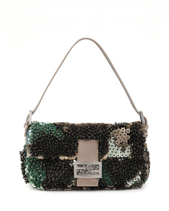 Medium Bead & Sequin Baguette, Green/Gray