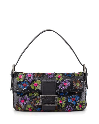 Baguette Medium Floral Sequin Bag, Black/Multi