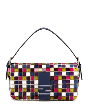 Multicolor Mosaic Medium Baguette Bag