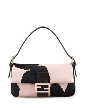 Printed Calf Hair Medium Baguette, Black/Pink