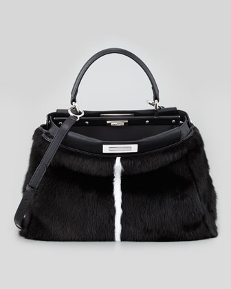 Peekaboo Mink Tote Bag, Black