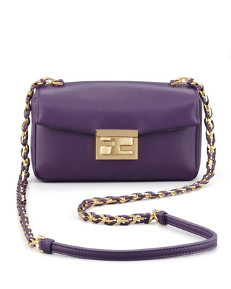 Mini Be Leather Crossbody Baguette, Violet