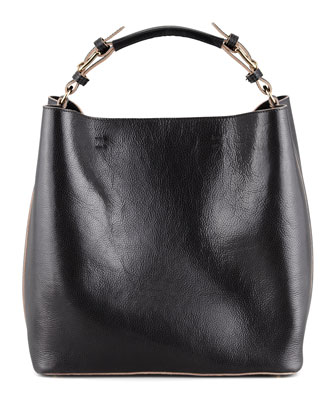 Leather Snap-Liner Bucket Bag