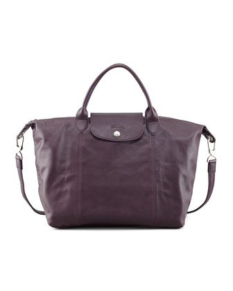 Le Pliage Medium Leather Handbag, Purple