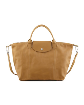 Le Pliage Cuir Handbag with Strap, Camel