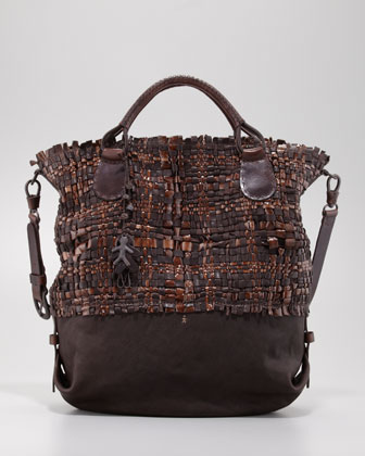 Woven Leather Tote Bag, Brown