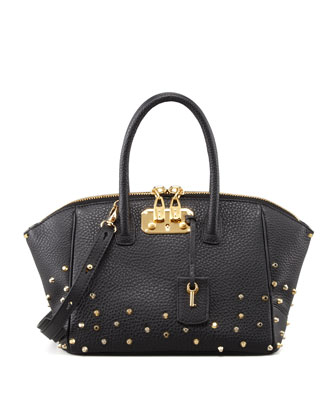 Brera Studded Leather Satchel Bag, Black