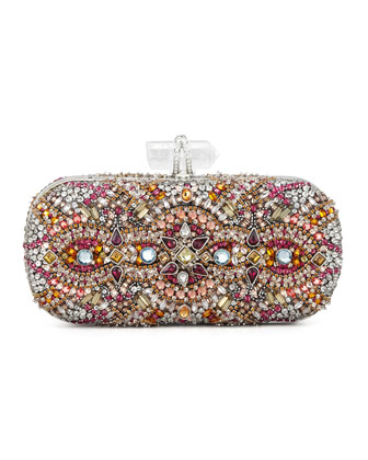 Lilly Medium Crystal Minaudiere Clutch, Pink Multi