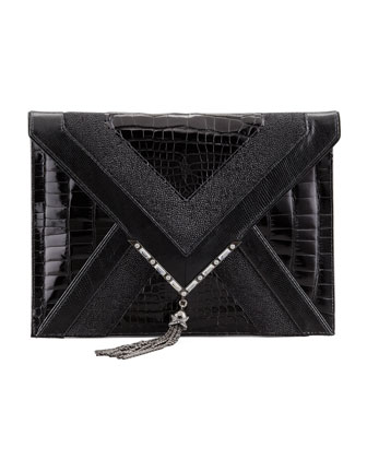 Elisa Mixed-Exotic Clutch Bag, Black