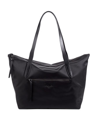 Parker Nylon Zip-Top Shopper Tote Bag, Black