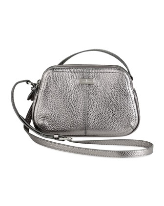 Village Double Zip Crossbody Bag, Silver