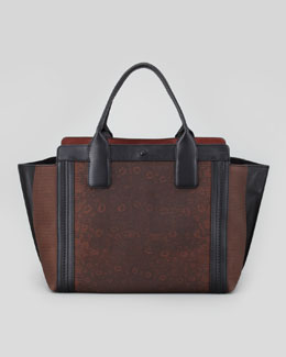 Chloe Alison Mini Lizard-Print Colorblock Tote Bag, Brown