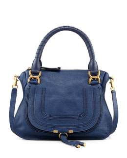 Chloe Marcie Medium Satchel Bag, Navy