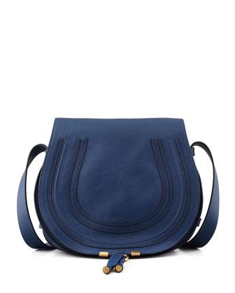 Marcie Medium Leather Crossbody Bag, Navy