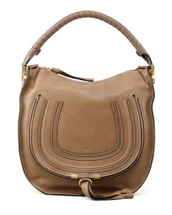 Marcie Medium Hobo Bag, Tan