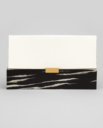 Faux-Napa & Wood Clutch Bag