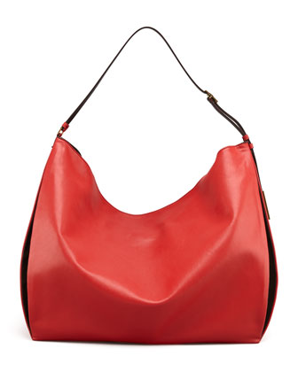 Faux-Napa Big Shoulder Bag, Red