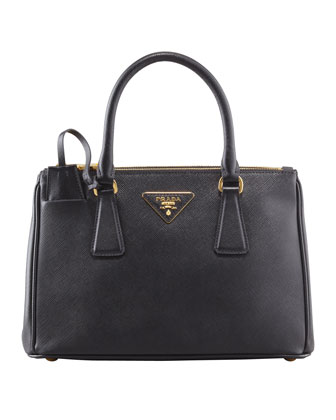 Mini Saffiano Lux Tote Bag, Black (Nero)