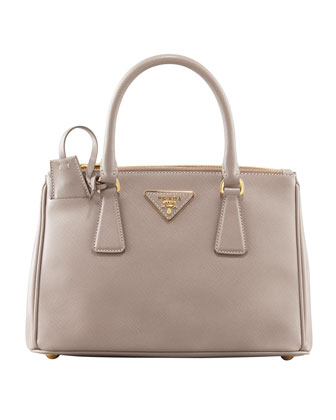 Mini Saffiano Lux Tote Bag, Gray