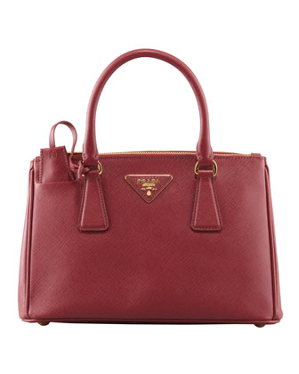 Mini Saffiano Lux Tote Bag, Wine