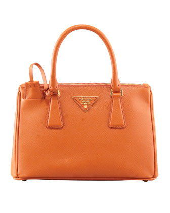 Saffiano Double-Zip Mini Crossbody, (Orange) Papaya