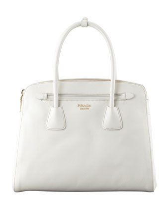 Saffiano Cuir Large Double-Zip Tote Bag, White