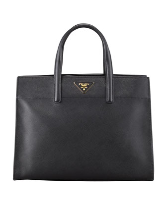Saffiano Soft Triple-Pocket Tote Bag, Black (Nero)