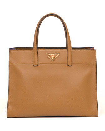 Saffiano Soft Triple-Pocket Tote Bag, Caramel