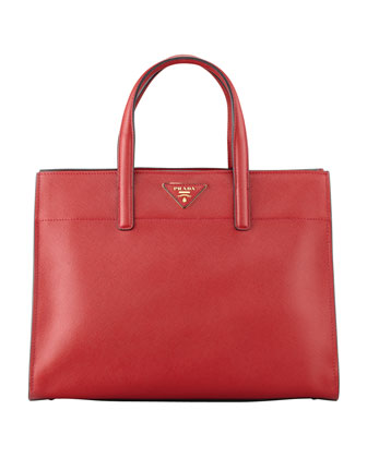 Saffiano Soft Triple-Pocket Tote Bag, Red (Fuoco)