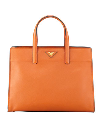 Saffiano Soft Triple-Pocket Tote Bag, Orange (Papaya)