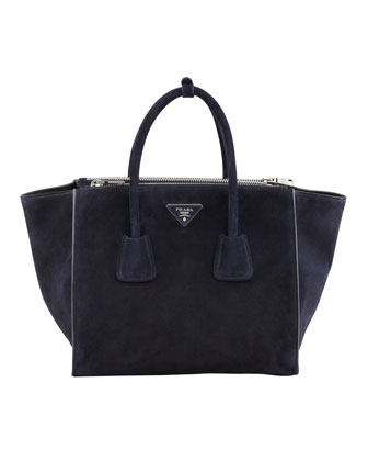 Suede Twin Pocket Tote Bag, Navy