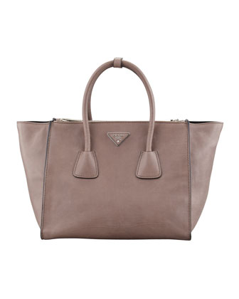 Glace Calf Twin Pocket Tote Bag, Gray