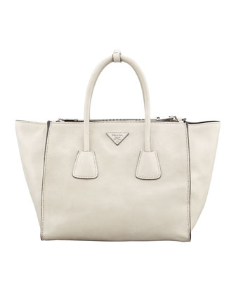 Glace Calf Twin Pocket Tote Bag, Off White