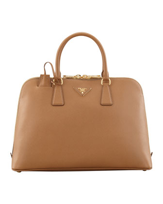 Saffiano Medium Promenade Bag, Brown (Caramel)