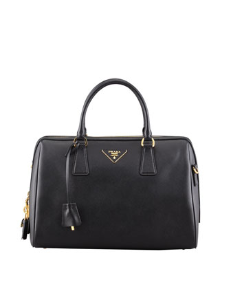 Saffiano Bowler Bag with Strap, Black (Nero)