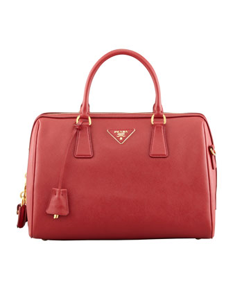 Saffiano Bowler Bag with Strap, Red (Fuoco)
