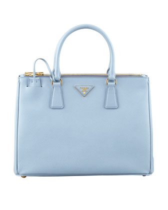 Saffiano Small Double-Zip Executive Tote Bag, Blue (Astrale)