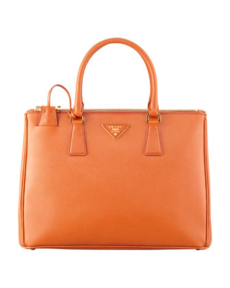 Saffiano Small Double-Zip Executive Tote Bag, Orange (Papaya)