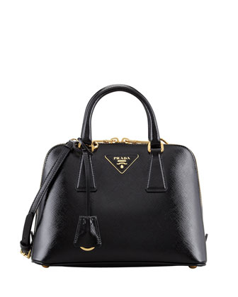 Saffiano Vernice Promenade Crossbody Bag, Black (Nero)