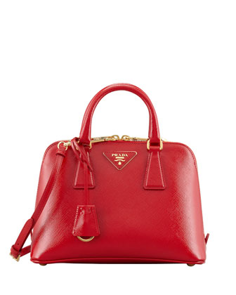 Saffiano Vernice Promenade Crossbody Bag, Red (Rosso)