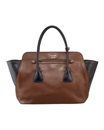 Bicolor Soft Calfskin Tote Bag, Brown/Black