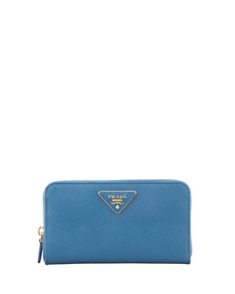 Saffiano Triangle Zip-Around Wallet, Cobalt (Cobalto)