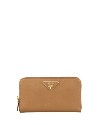Saffiano Triangle Zip-Around Wallet, Brown (Caramel)