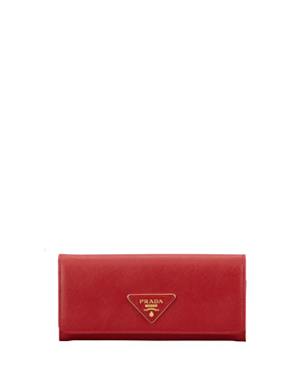 Saffiano Triangle Continental Flap Wallet, Red