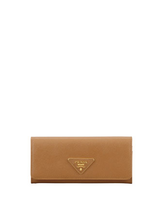 Saffiano Triangle Continental Flap Wallet, Brown (Caramel)