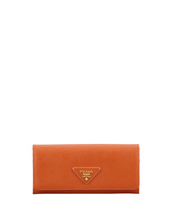 Saffiano Triangle Continental Flap Wallet, Orange (Papaya)
