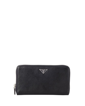 Saffiano Large Zip-Around Travel Wallet, Black (Nero)