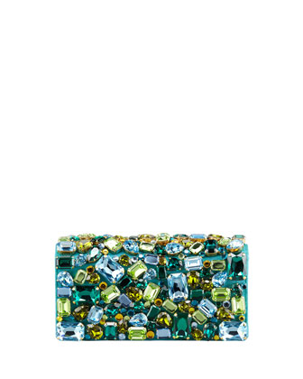 Jeweled Satin Clutch Bag, Turquoise